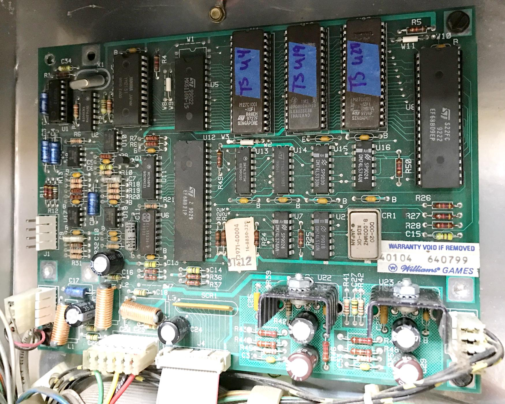 Pinball Repair Bally 6803 Games 1985 1989 And Diagnostic Of Electronic Circuit Board Stock Photo
