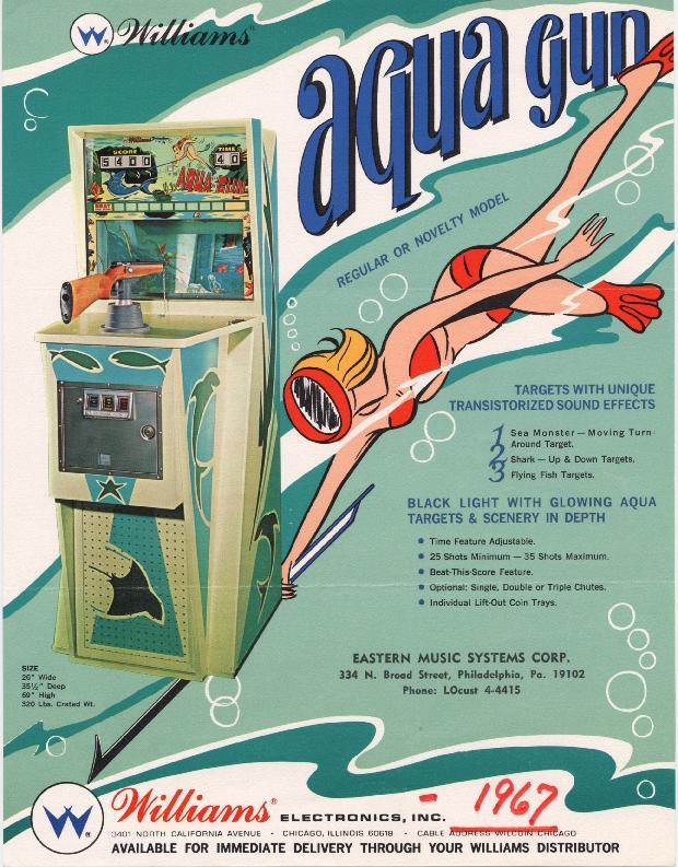 1968 Williams Aqua Gun coin operated arcade gun rifle range game