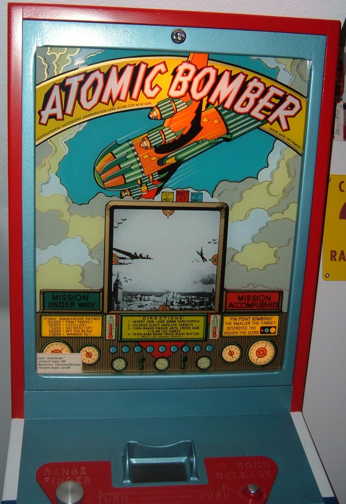 Player view of Atomic Bomber arcade game