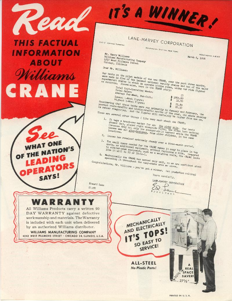 1956 Williams Crane coin operated digger/crane arcade game