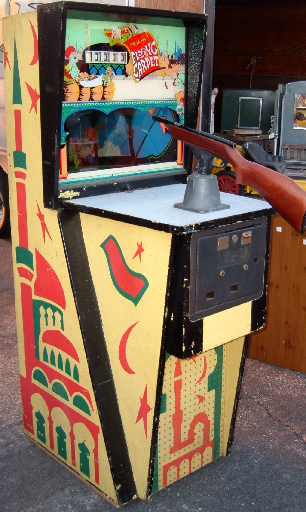 1970 Midway Flying Carpet Coin Operated Mechanical Gun Game