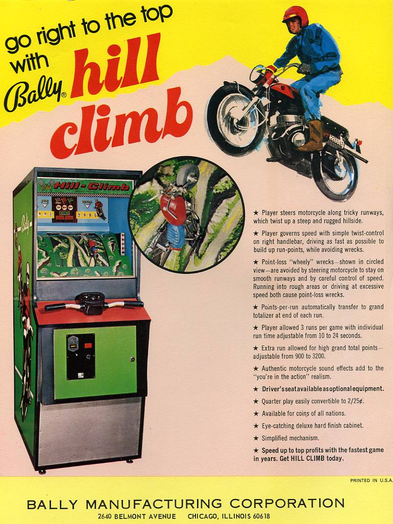 Arcade Driving School >> 1972 Bally Hill Climb Coin Operated Arcade Driving Game