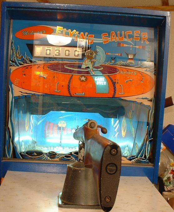 1967 Midway Flying Saucer Coin Operated Mechanical Gun