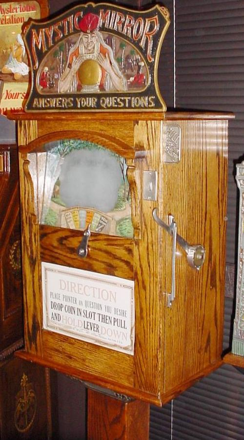 mystic mirror fortune teller coin operated penny arcade game