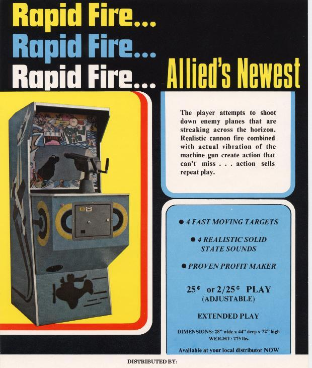 Allied Leisure Rapid Fire Coin Operated Gun Game