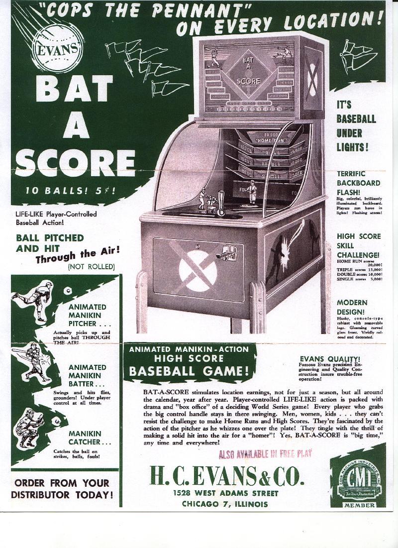 Evans Bat A Score Evan Batascore Evens Bat Score 1948 H C