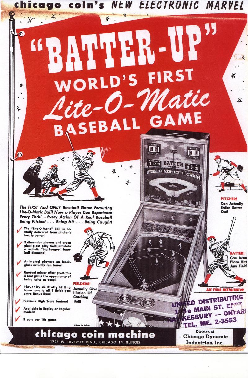 Chicago Coin Batter Up Baseball Pinball Arcade Game Ccm