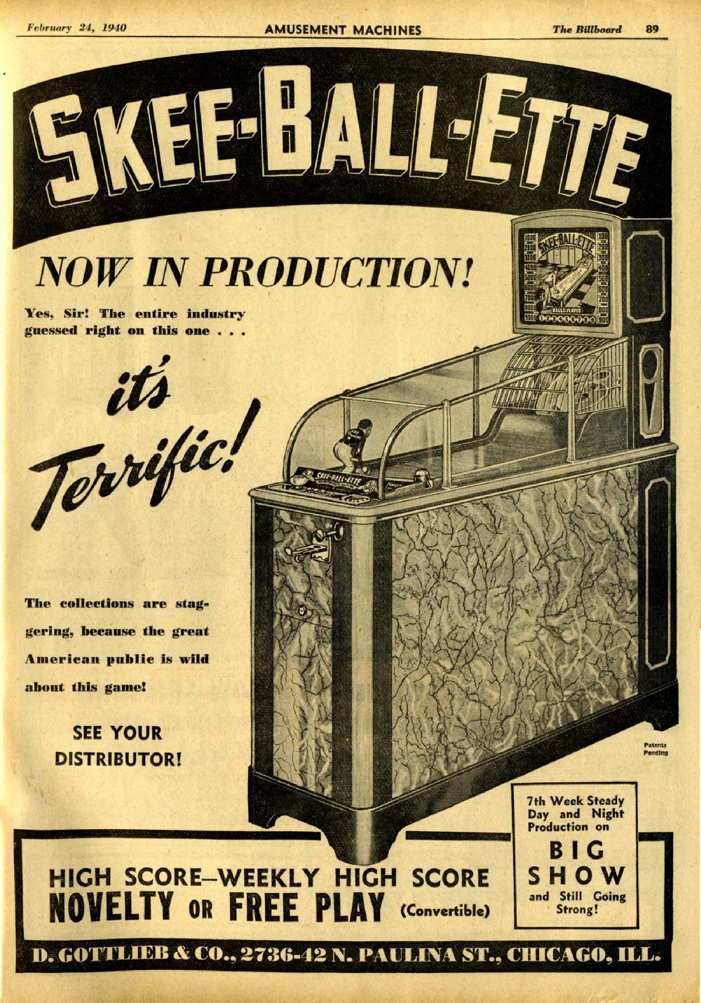 Gottlieb Skee Ball Ette Skeeballette Ballette Ski Ball