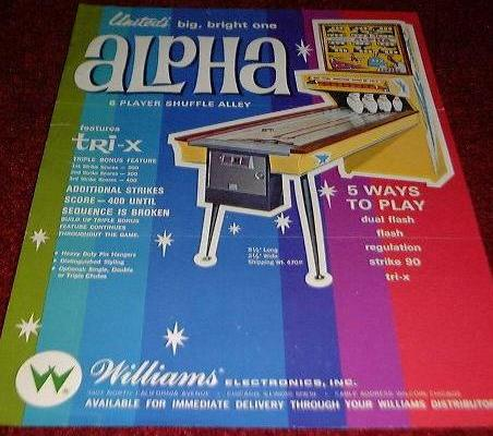 Williams United SHUFFLE ALLEY Complete PIN ASSEMBLY-works on 1966 to 1996 Games!