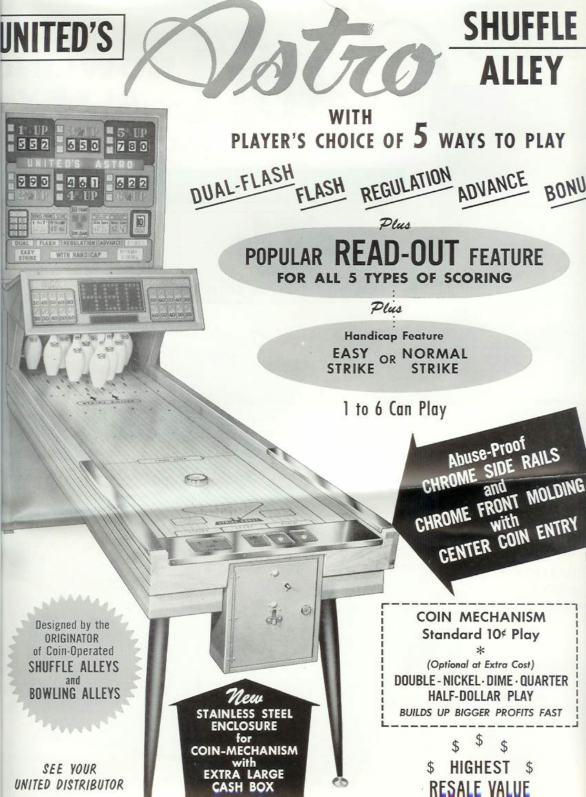 United Chicago Coin Bally Ball Bowler Bowling Machine Shuffle Alley 1972 Ford Thunderbird Wiring Diagram Astrodome