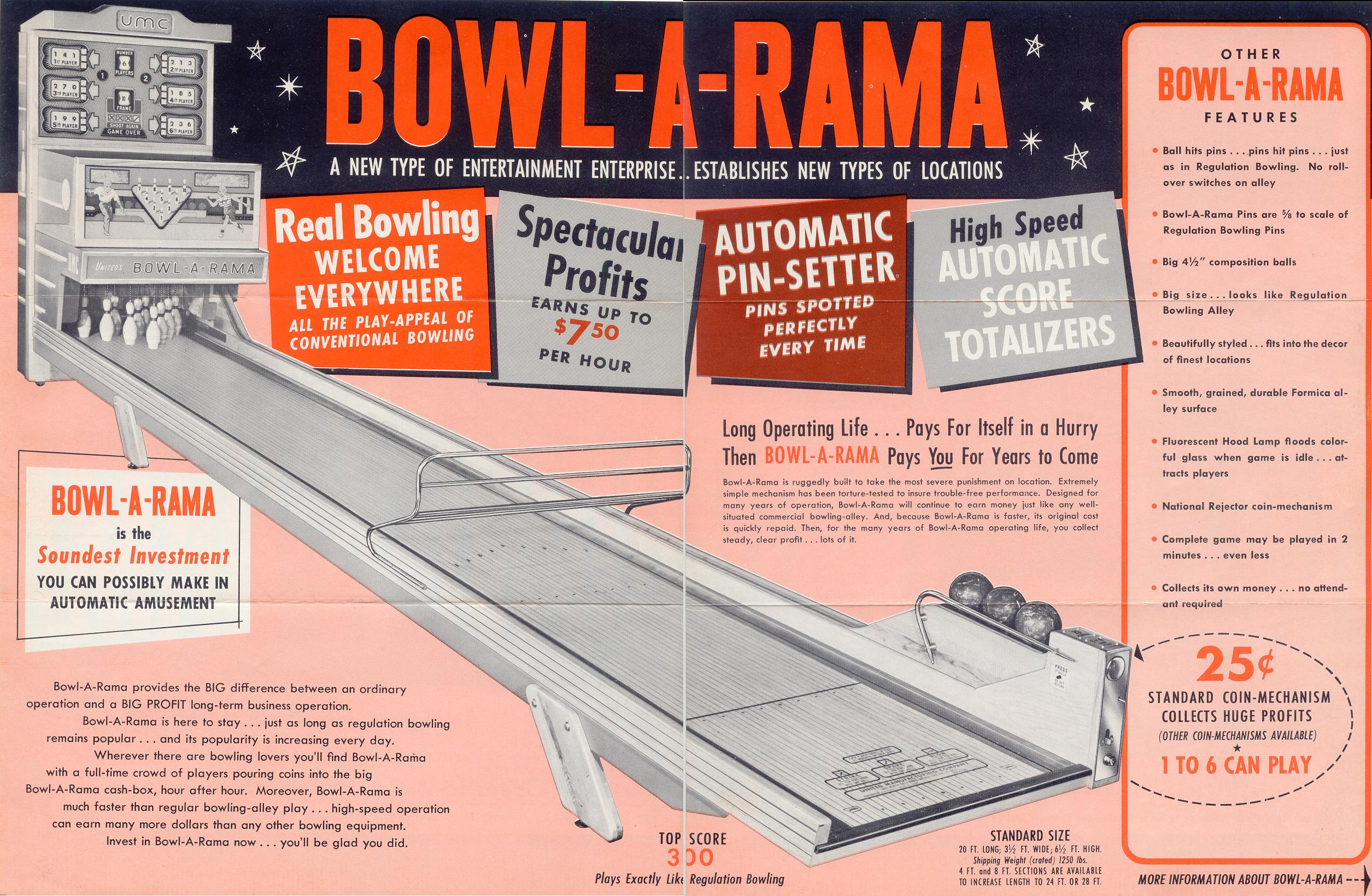 United Bowl-a-Rama Bowling Alley deluxe Ball Bowler 1960 coin