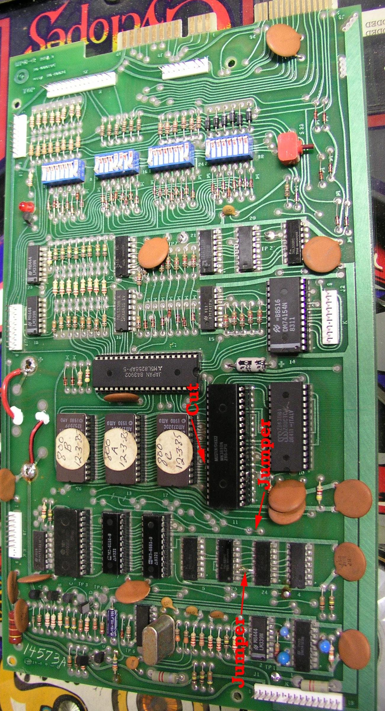 Pinball Game Plan Gameplan Repair 1978 1985 Old Dirty Circuit Board With Transistors And Microchips For Use As A Component Side Modifying Mpu 2 2732 Eproms Pic By Tom