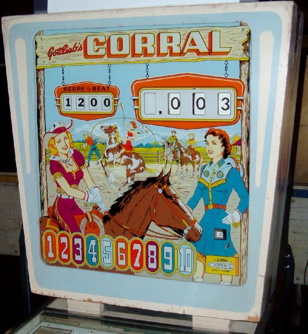 Gottlieb Corral 1961 Coin Operated Pinball Wedgehead Game