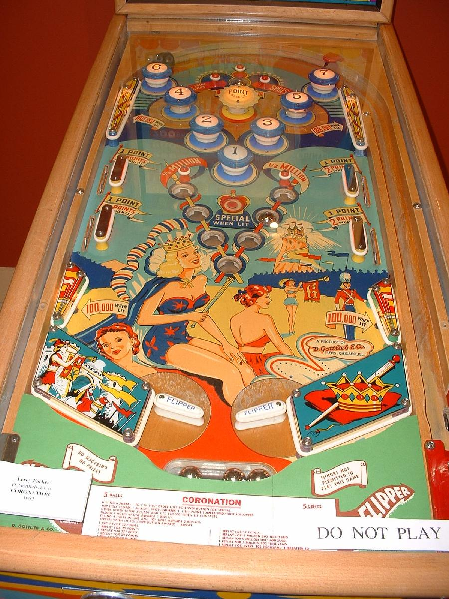 Gottlieb Coronation 1952 Coin Operated Pinball Woodrail Game