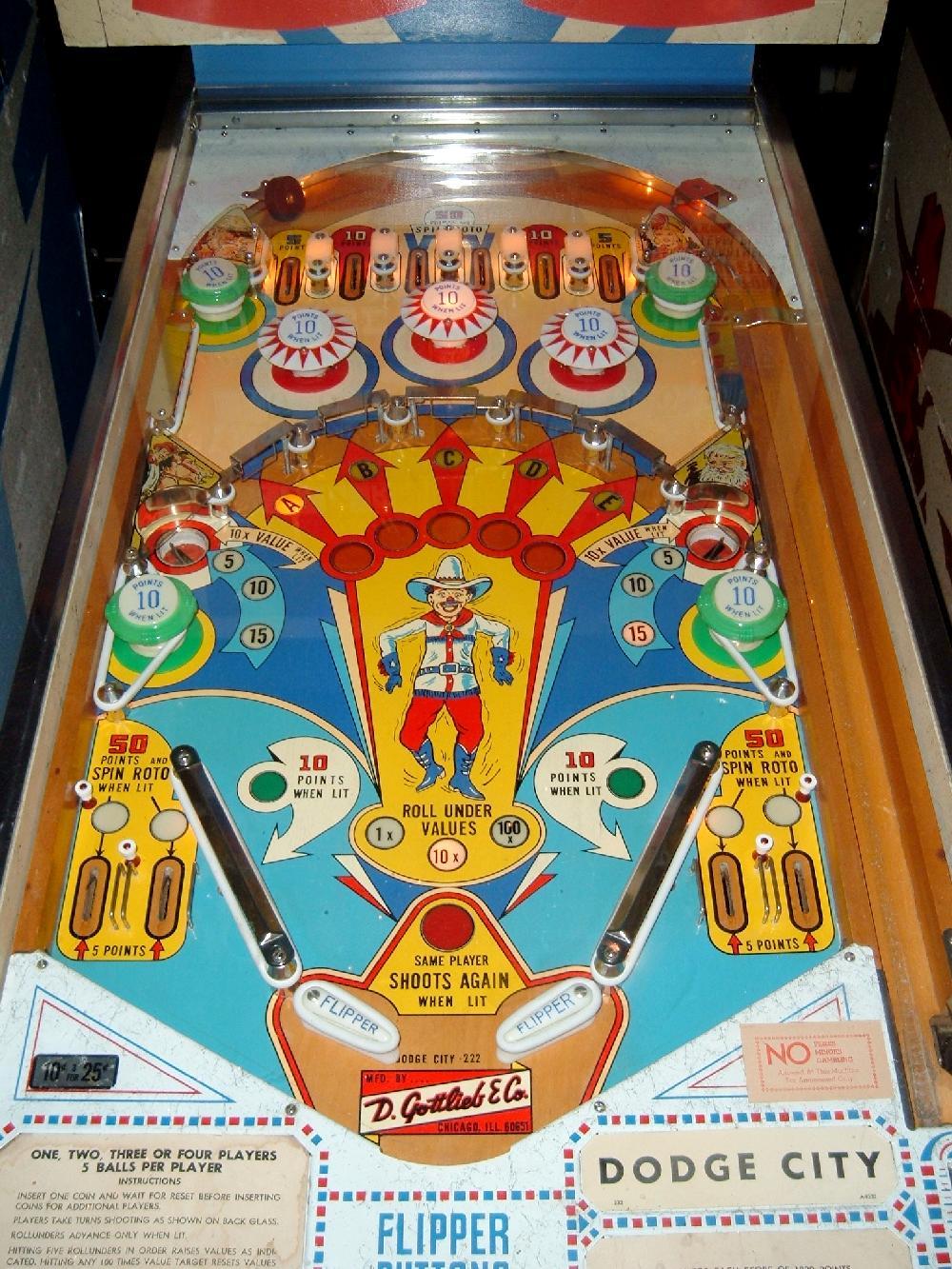 Gottlieb Dodge City Pinball Machine Collector Buying