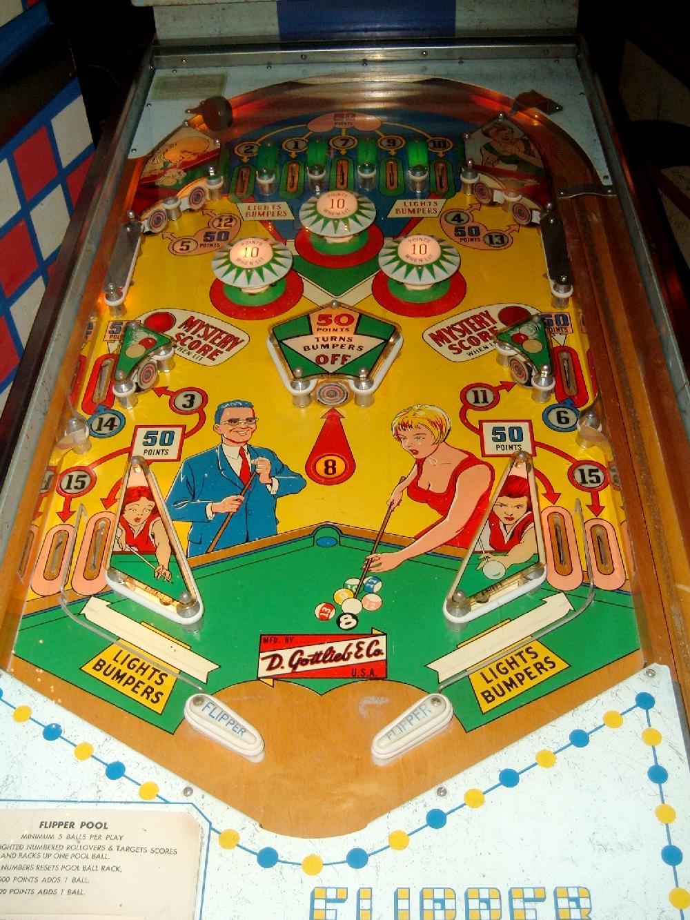 Gottlieb Flipper Pool Pinball 1965 Coin Operated Pinball