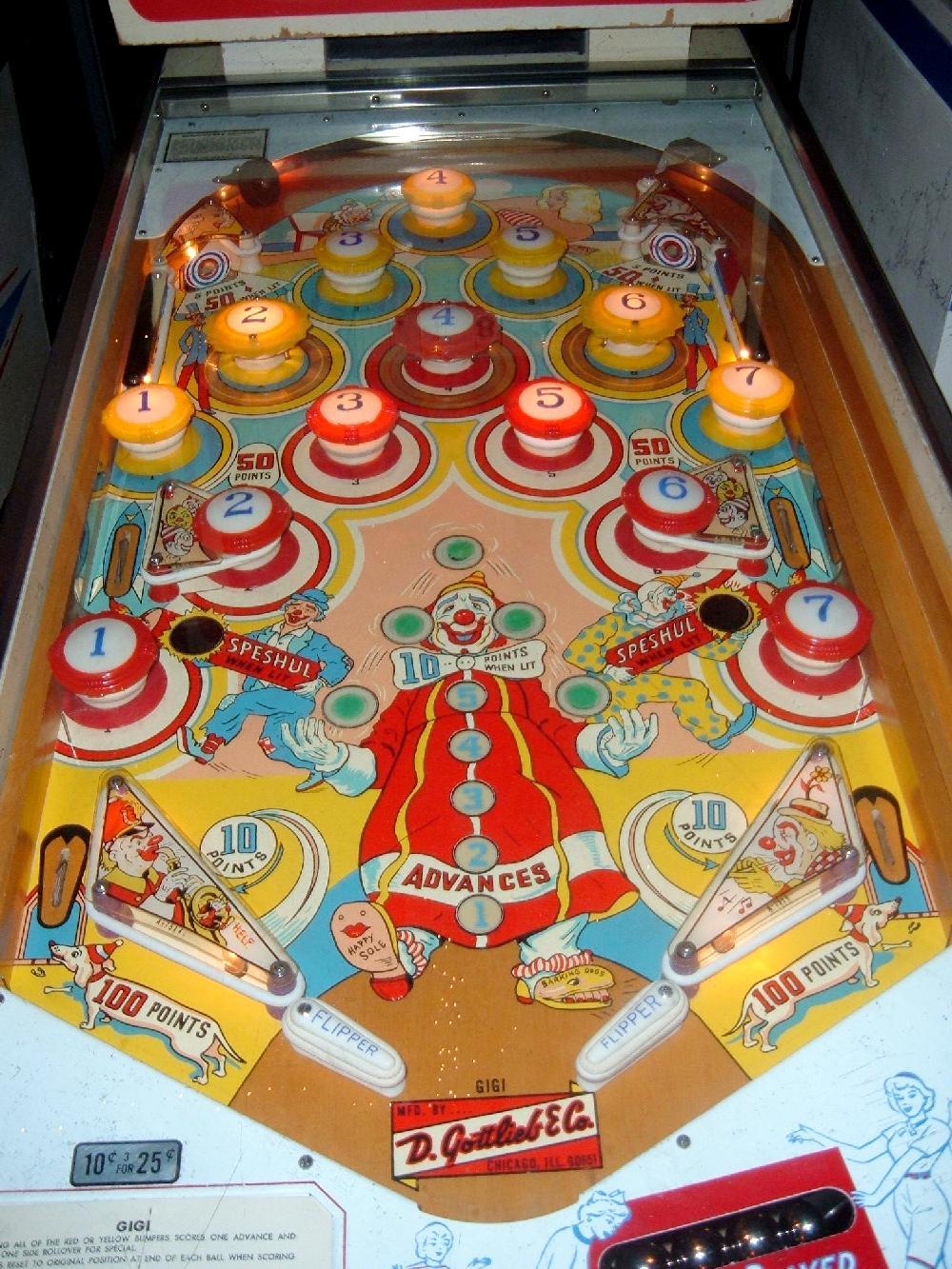 gottlieb gigi pinball gottlieb 1963 machine