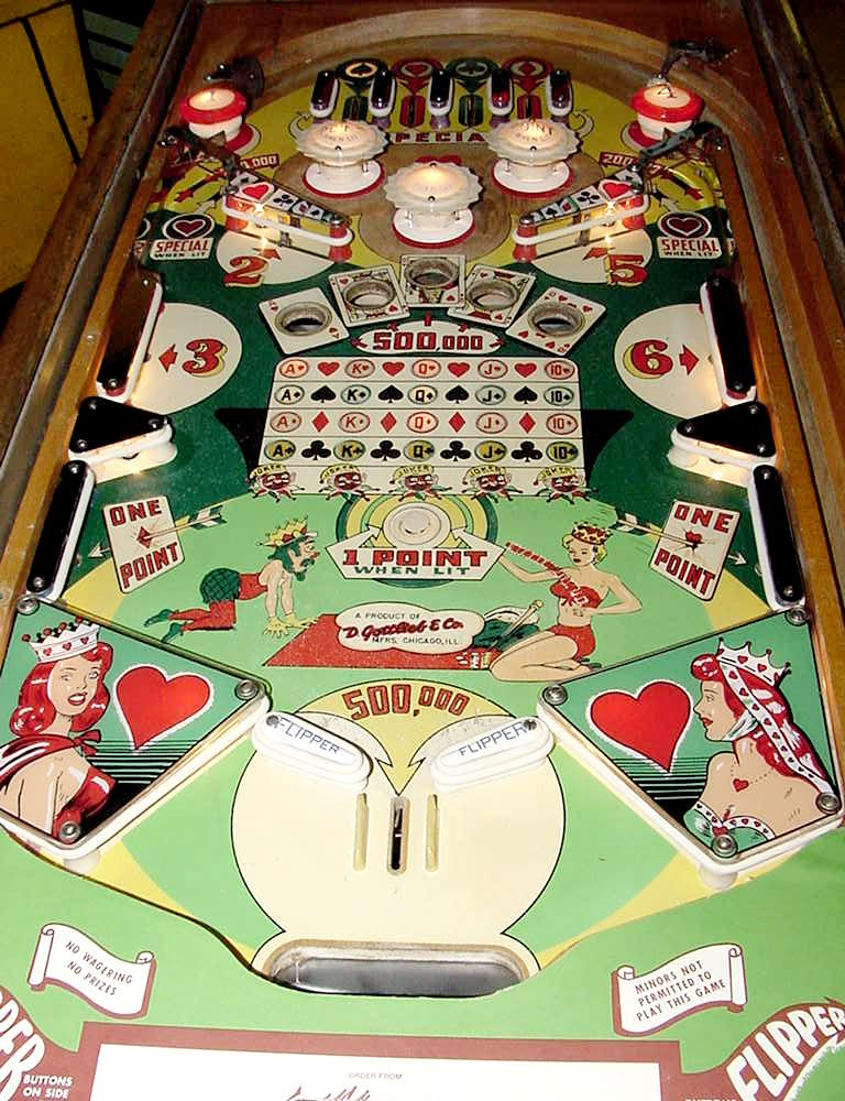 Gottlieb Queen of Hearts 1952 coin operated pinball woodrail