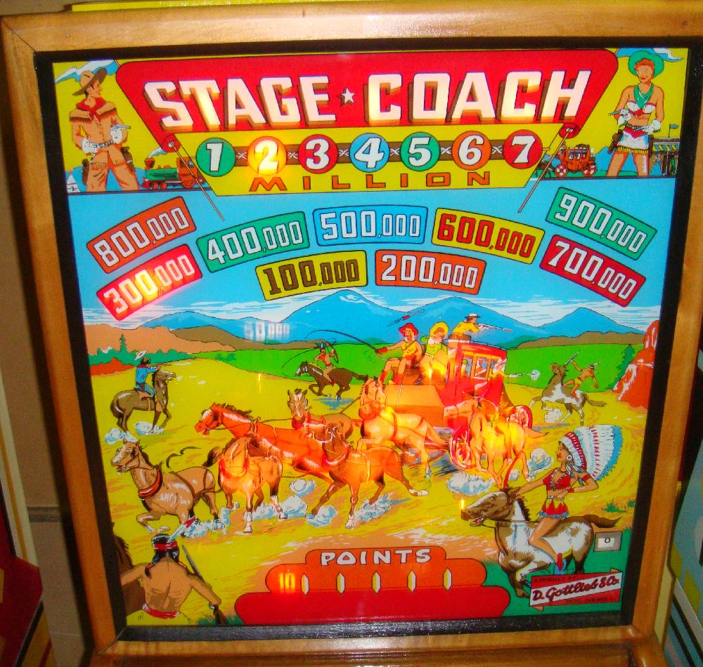 Gottlieb Stage Coach Stagecoach 1954 Coin Operated Pinball