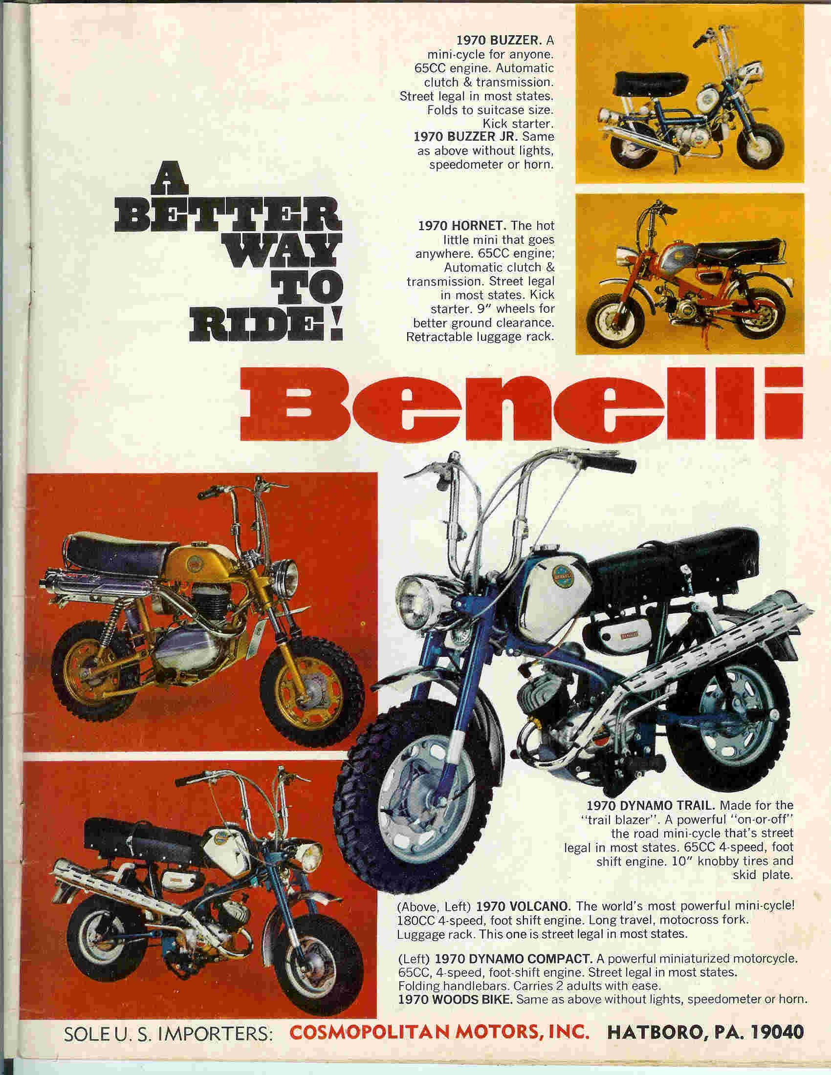 Mini Bike Minibike Advertising Rupp Ruttman Fox Honda Lil Indian 1970 Ct70 Brochures Benelli1971 Ad