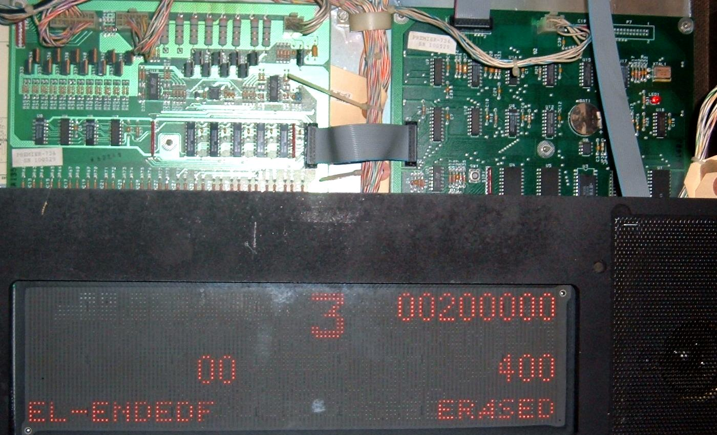 Pinball Gottlieb System 3 System3 Repair 1989 1996 Push Pull Pot Wiring Cueball Wizard Garbage Boot The Cpus Led Is Circled In Yellow Notice Strange Dmd Display Message