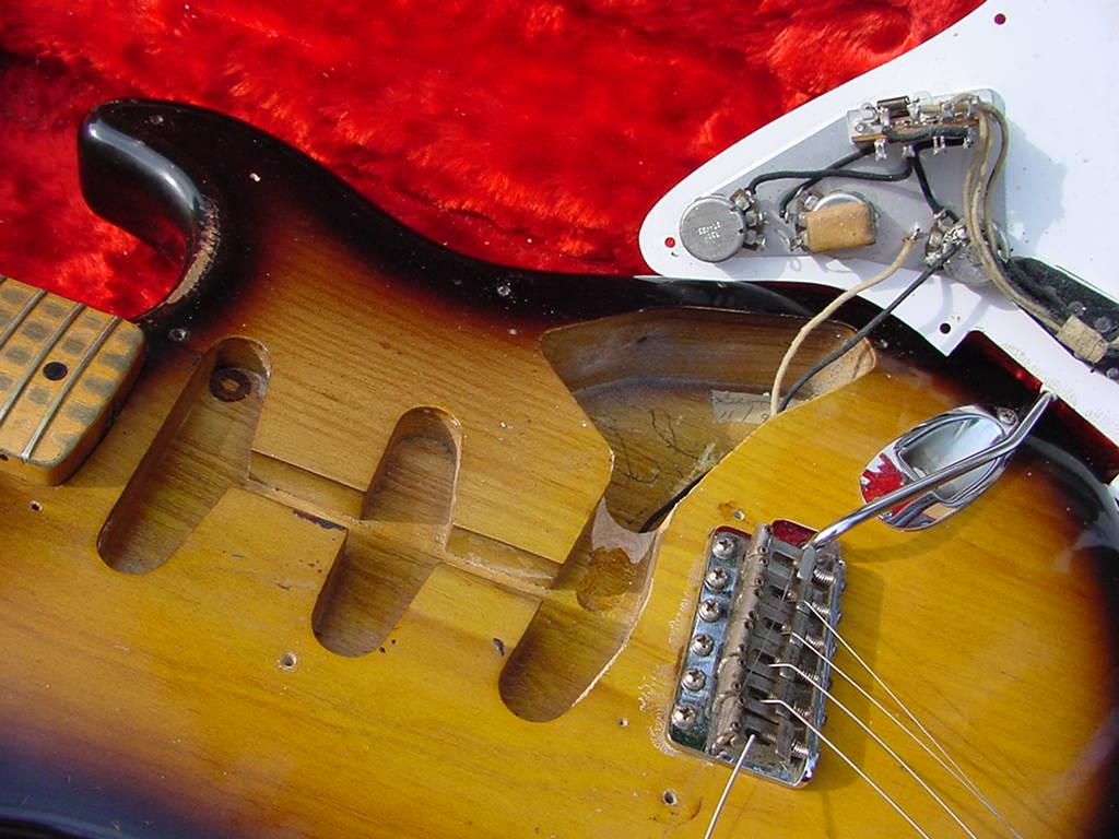 1954 fender stratocaster guitar 54 fender strat guitar collector anymore as fender changed their lead pickup wire route form this hand chiseling was done during final assembly to help the pickguard assembly sit better