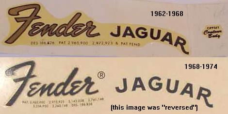 Fender Jaguar Logo's - Transistion vs. Black Logo