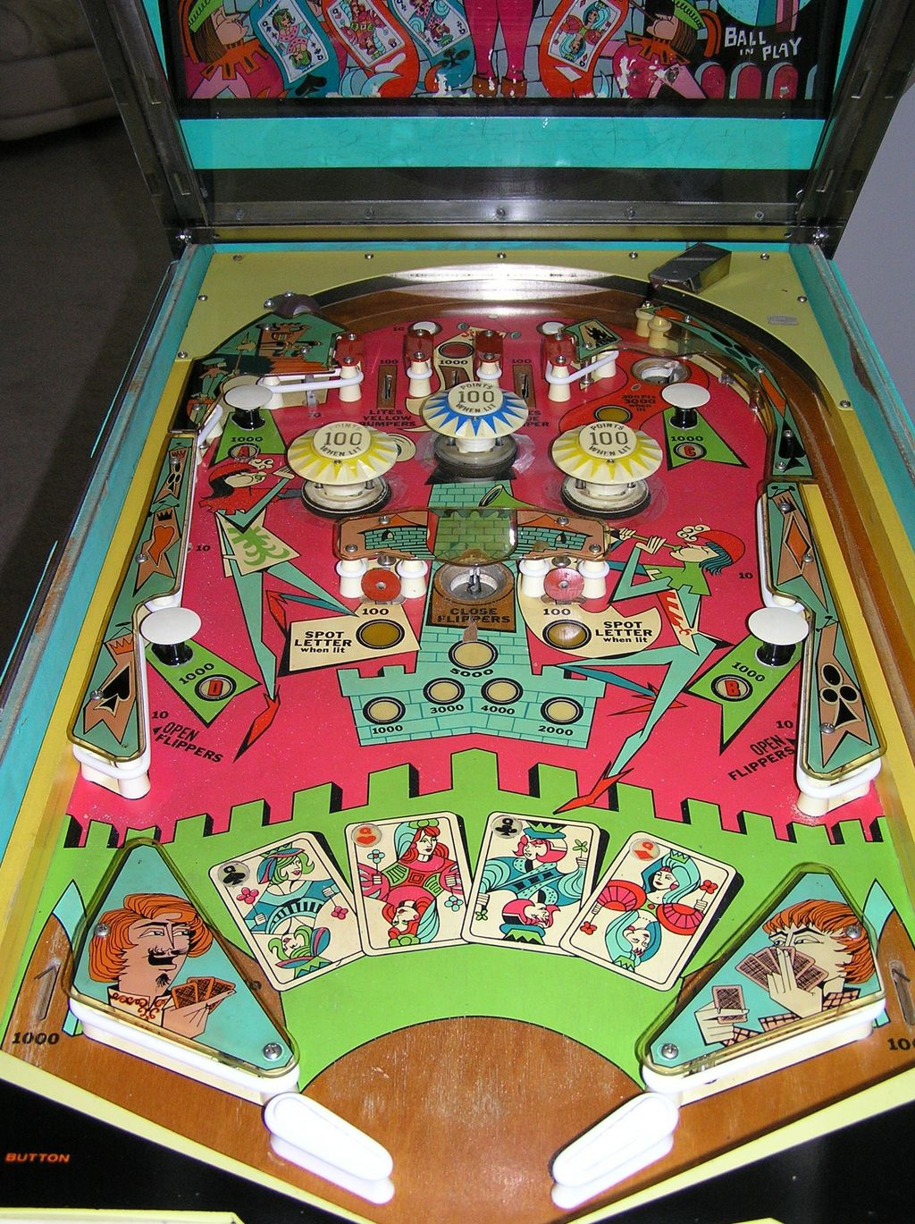 super popular later limited guantity Bally 4 Queens pinball machine 1970 USA coin operated arcade ...