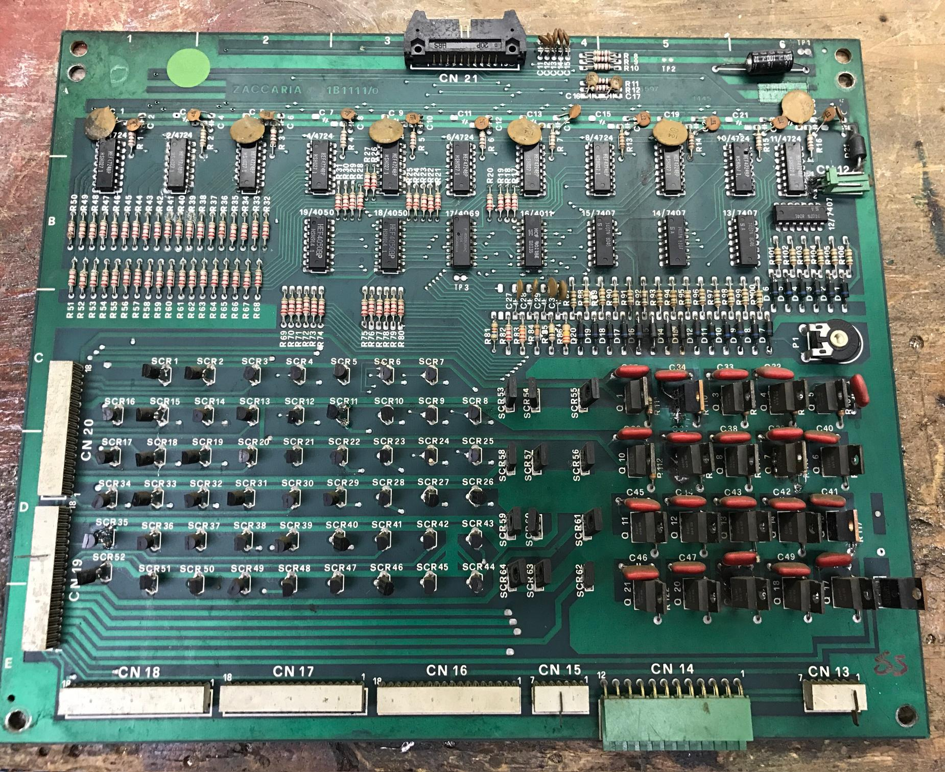 Pinball Repairing Zaccaria Games 1978 1987 Repair And Diagnostic Of Electronic Circuit Board Stock Photo Gen1 Driver Note The 100 Old Style Connectors Green 156 Connector